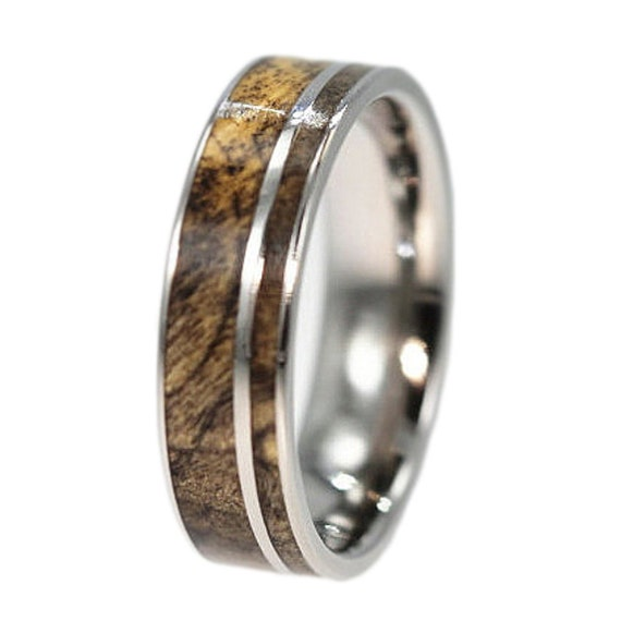 Personalized Wood Ring Titanium Wedding Band with Highly Figured Buckeye Burl Wood Inlay, Waterproofed Eco-Friendly Gift Ideas for Him