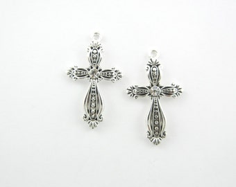 Pair of Cross Charms with Rhinestone Focal