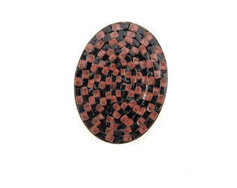 Vintage Oval Brown and Black Glass Mosaic Cabochon Made in Italy