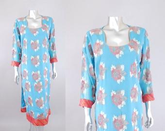 Amrita silk caftan | vintage embroidered dress | vintage indian print dress