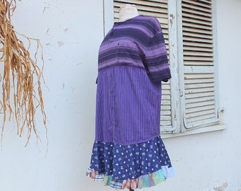 Repurposed Mens Shirt Cotton Tunic  -Purple Upcycled Men's Shirt creation - Patchwork  Indie Couture Dress By Resplendent Rags
