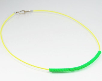 Guitar String Jewelry- Neon Necklace, Neon Yellow & Green Guitar String Choker, Blacklight Reactive, Guitar String Necklace, Music Jewelry