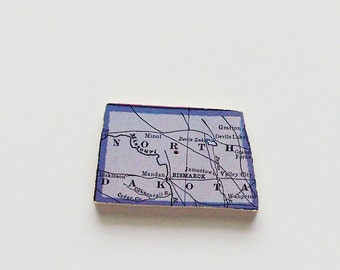 North Dakota Brooch - Lapel Pin / Upcycled Antique 1915 Wood Map Piece / Unique Wearable History Gift Idea / Timeless Gift Under 30
