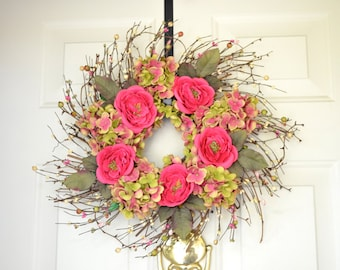 Pink and Green Silk Flower Spring Wreath