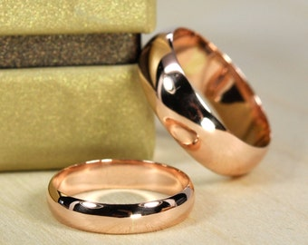 Rose Gold Wedding Band Set, Solid 14K Rose Gold Rings, Half Round Classic Style, Customizable, 4mm and 6mm Wide, Sea Babe Jewelry