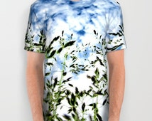 Grass All Over Print Unisex Adult T-Shirt, Wearable Art, Cloudy Sky T-shirt, Nature T-shirt, Women, Men, Jogging,Yoga,Gym,Surf,Cloud t-shirt