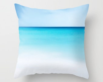 OCEAN Throw Pillow, Calm Waters, Blue Pillow, Patio, Decorative Pillow, Nature Cushion,Wedding Gift, Nautical Pillow, Surf,White Sand Pillow