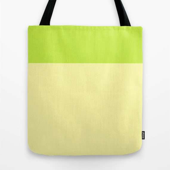 Lemon Lime Tote Bag, 13x13, 16x16, 18x18, Color Block Tote, Beach Tote, Lunch Tote Bag, Market Tote, Contemporary Tote,Teen Tote, Canvas Bag