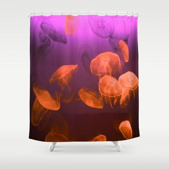 MOON Jellyfish Shower Curtain, Ocean Bathroom, Red Purple Home Decor, Nautical Shower Curtain, Nature Shower Curtain,Surf,Underwater,Coastal