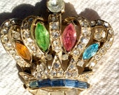 Vintage MULTICOLORED CRYSTAL CROWN Pin