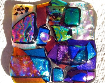 Dichroic  Multi Colored FUSED GLASS Mini Paperweight