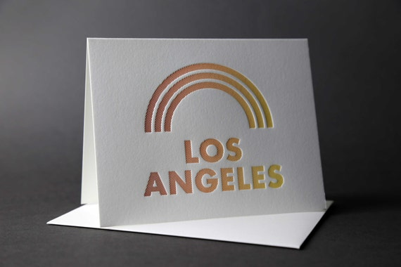 Rainbow Roll: LOS ANGELES letterpress card