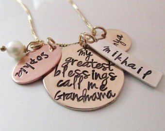 My Greatest Blessings  - Golden Blessings  Hand Stamped Jewelry - Personalized Necklace - Grandma Necklace - Gift for Grandma - Mother's Day