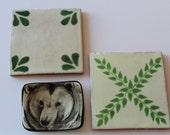 ARCHITECTURAL INTEREST Set of Two Vintage Tile Trivets and A Small Ring Dish