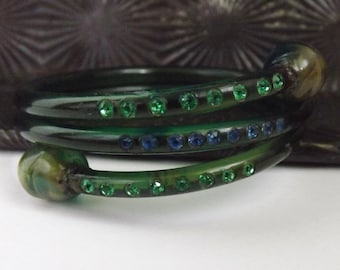 Vintage green coiled snake celluloid rhinestone bracelet over dyed with blue green stones