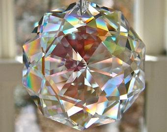 "Swarovski Aurora Borealis Dahlia Crystal Suncatcher, Window Prism, Rainbow Maker, Glistens Even in Low Lighting -   ""DARLING DAHLIA"""