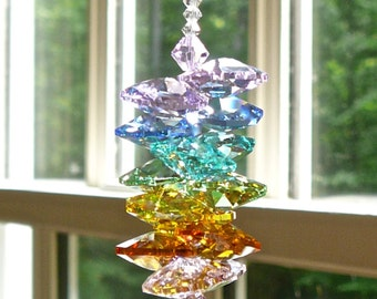 Pastel Swarovski Crystal  Suncatcher, Window Decoration, Rainbow Maker, Crystal Hanger, Also Comes in Bright Rainbow Colors