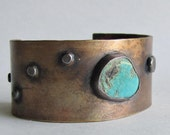 Bronze Cuff Bracelet with Turquoise - Turquoise Cuff Bracelet - Medium Cuff Bracelet