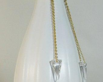 Long Swarovski crystal gold chandelier earrings,wedding earrings,gold and crystal,long earrings, long crystal earrings,crystal chandelier