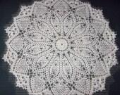 "Crochet Doily, 19"", Round White, Pineapple design"