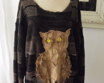 Sweater, Plus Size,  Funky, Fringey, Hand Dyed Raggey Muslin Brown Owl, Oversized Brown/Tan Sweater