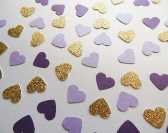 Gold Glitter Heart Confetti, 250 pcs. Light Purple and Dark Purple Shimmer Hearts, Table Scatter, Wedding Reception Decor, Party Decoration