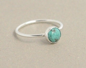 turquoise ring. sterling silver. turquoise stone ring. December birthstone ring. solitaire stacking ring. dainty turquoise gemstone ring.