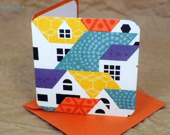 Blank Mini Card Set of 10, Contemporary House Design with Contrasting Pattern on the Inside, Metallic Orange Envelopes,mad4plaid