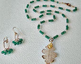 Green Onyx necklace set, natural leaf pendant