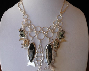 Fossil Fishing – Winner Juried Show –  Statement Bib Necklace - Evolution - Unique - Fossil, Shell, Writing Stone - Adjustible 17 to 19 1/4""