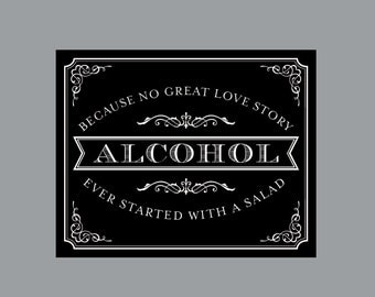DIY Printable Alcohol Bar Sign -  Vintage Antique Victorian Cottage Chic Rustic Chalkboard Wedding Reception Alcohol Bar Sign