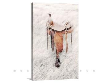 Horse Saddle Art, Canvas Art Print, Equine Art, Surreal Photograph, Western Art, Equestrian Art, Cowgirl, Cowboy, Giclee Canvas Print
