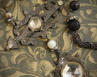 Dark Skies-Antique Victorian Rhinestone Brooch Assemblage Necklace