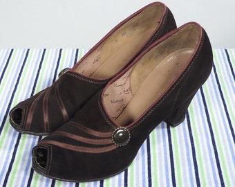 Vintage 30s 40s Brown Peeptoe Heels 5.5 6AA Pumps Ribbon