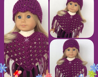 Handmade Doll Clothes Made To Fit American Girl, Crochet Poncho Set, Plum Passion, Handmade 18 Inch Doll Clothes