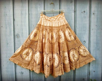 Tea Stained Crochet Long Circle Skirt// Repurposed Skirt// Upcycled Vintage Linens// Medium // emmevielle