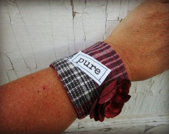 Pure Plaid Flannel Cuff Bracelet// Upcycled// emmevielle