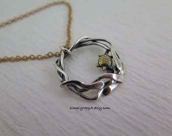 brass Turtle and silver mixed metal Kelp pendant on brass cable chain