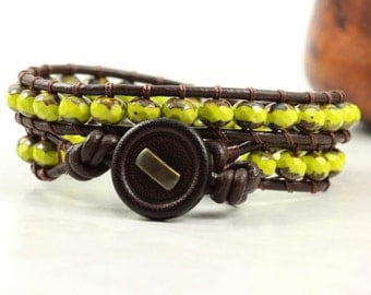 Avocado Bracelet Beaded Bracelet Brown Leather Wrap Bracelet Bohemian Jewelry Green Hippie Bracelet Leather Jewelry Autumn Fashion for Fall