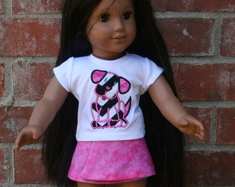 18 Inch Doll Chevron Puppy Shirt and Skirt Set