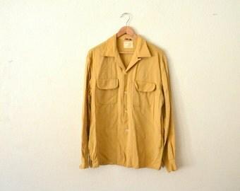 1950's Wool Mustard Yellow Button-Up Shirt