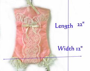 Lingerie bag pink satin corset with lace trim and garters authentic vintage 1950s