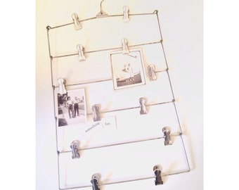 vintage skirt hanger - 6-tier metal hanger with 12 silver clips