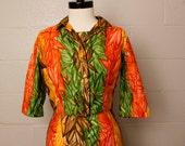 Vintage 1950's 1960's Kamehameha Hawaiian Orange Green Yellow Dress Jacket S