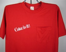 vintage 1970s red COKE is it t-shirt pocket tee soft thin U S A adds life coca COLA tshirt
