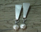 Sterling silver long post earring with pearl dangle, brushed sterling silver and pearl drop earring