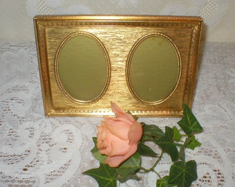 Vintage Double Oval Metal Picture Frame Elegant Art Nouveau Gold Tone
