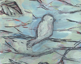 Sweet Grey Bird, original small painting, affordable fine art by Irene Stapleford