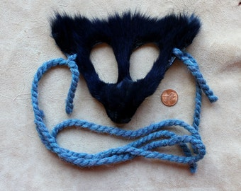 Fox mask - real eco-friendly blue dyed Arctic fox fur mask headdress with braided yarn cords for ritual, dance, costume and more