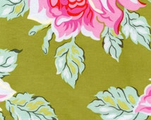 Heather Bailey, Nicey Jane, Hello Roses in Olive 100% Quilters Cotton Available in Yards, Half Yards and Fat Quarters